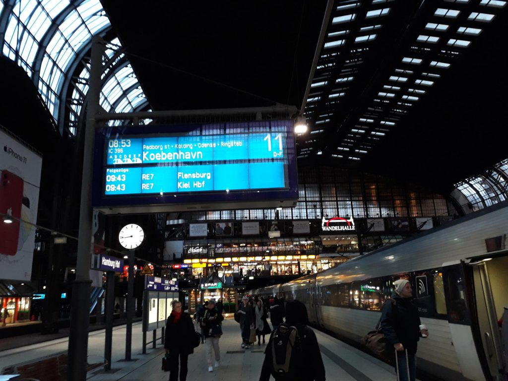 A direct train leaves the Hamburg train station for Copenhagen.
