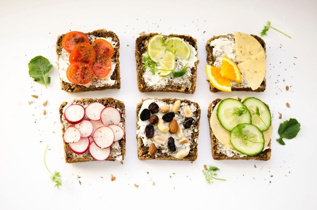 Pieces of bread with different toppings