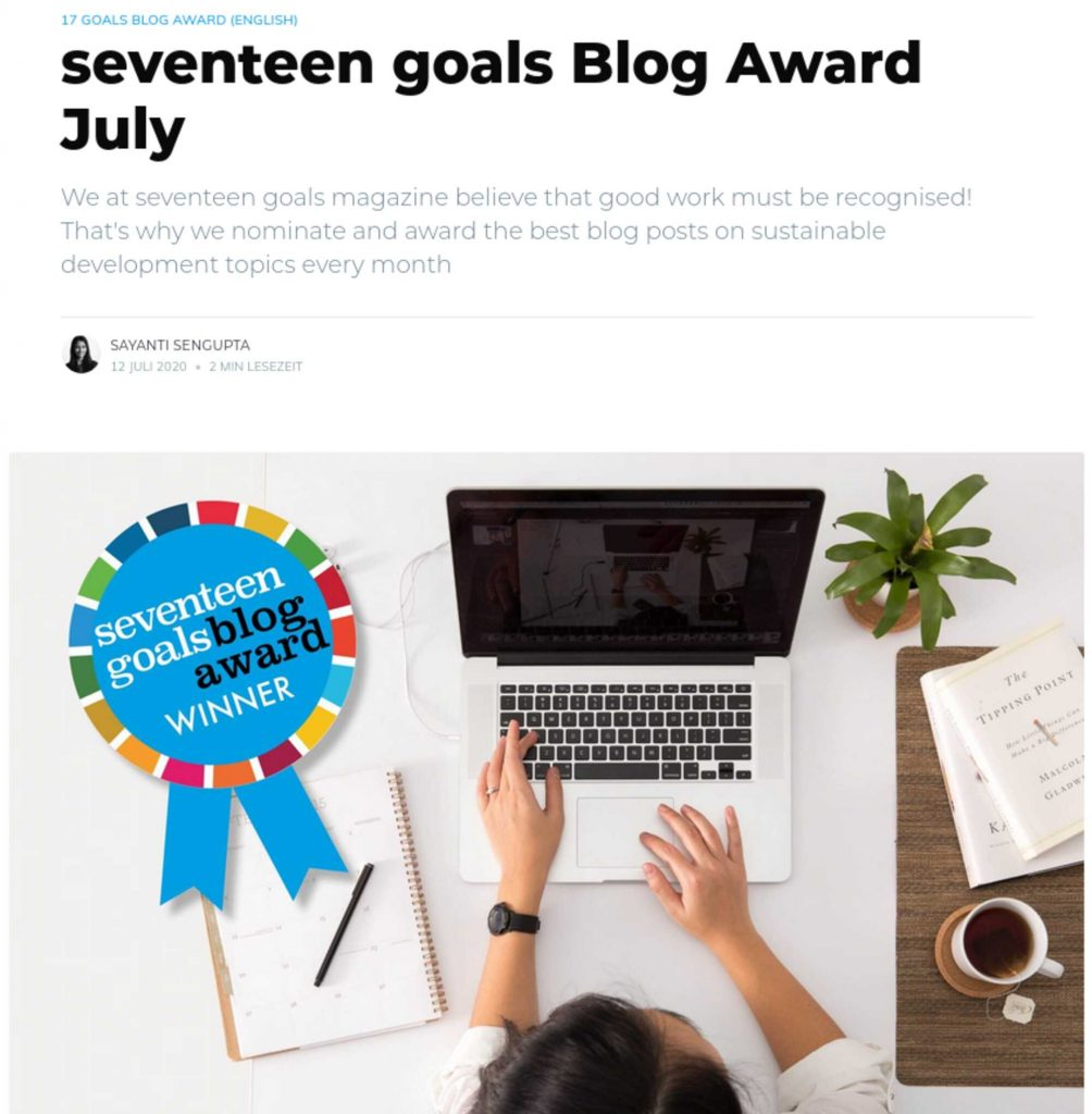 My blog post How to: Commute safely, healthy and environmentally-friendly in times of COVID-19 and climate change got nominated for the seventeen goals Blog Award by the seventeen goals magazine!